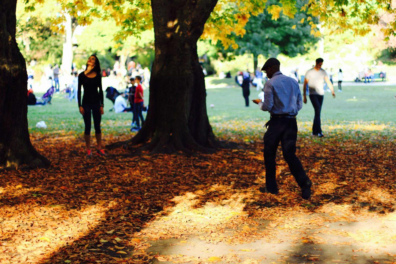 Couple dans le parc Montsouris en automne
