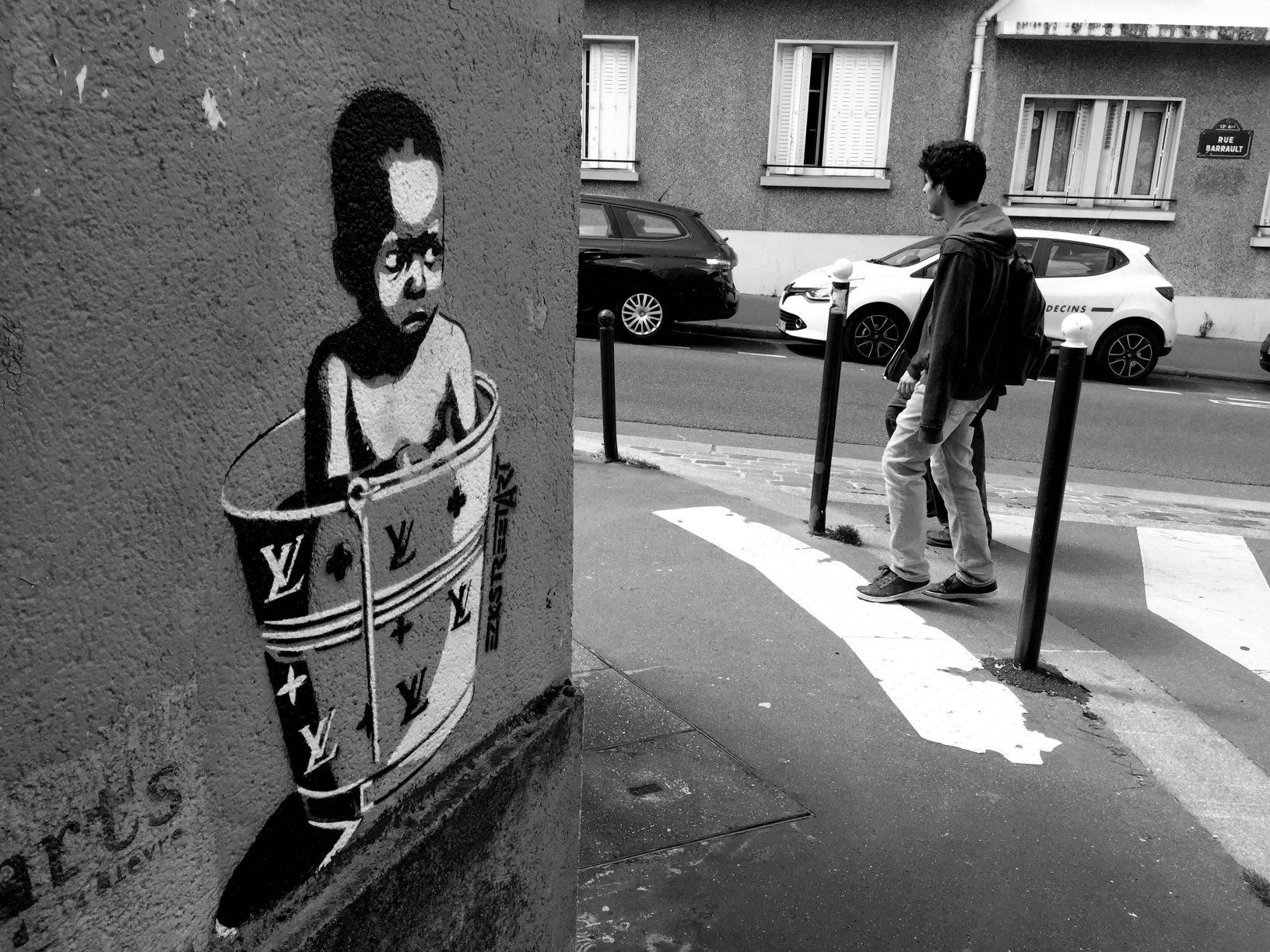 Oeuvre de EZKStreetArt dans la Butte aux Cailles - Paris - Eté 2016